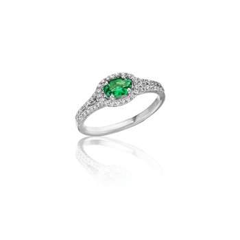 Always On My Mind Emerald and Diamond Oval Cut Ring