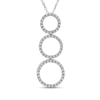 10K White Gold 1/2 Ct Diamond Three Circle Pendant with Chain
