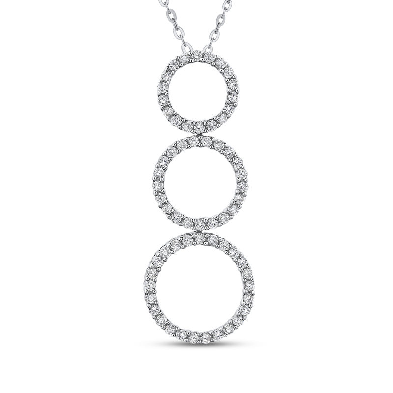 Essentials 10K White Gold 1/2 Ct Diamond Three Circle Pendant with Chain