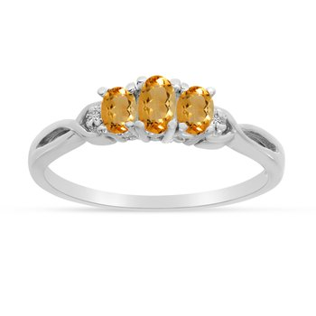 10k White Gold Oval Citrine And Diamond Three Stone Ring