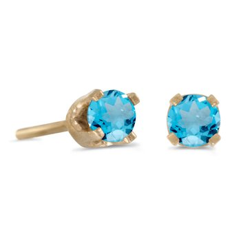 14k Yellow Gold 3 mm Petite Round Natural Blue Topaz Stud Earrings