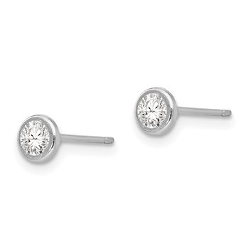 14k White Gold Madi K 4mm Bezel Set CZ Post Earrings