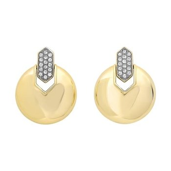 Diamond Button Dangle Earrings in Yellow Gold (1/10ctw)