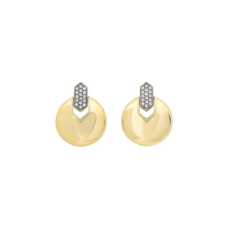 Gems One Diamond Button Dangle Earrings in Yellow Gold (1/10ctw)