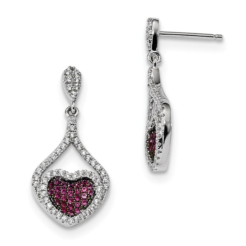 Quality Gold Sterling Silver Red & White CZ Brilliant Embers Heart Dangle Post Earrings