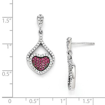 Sterling Silver Red & White CZ Brilliant Embers Heart Dangle Post Earrings