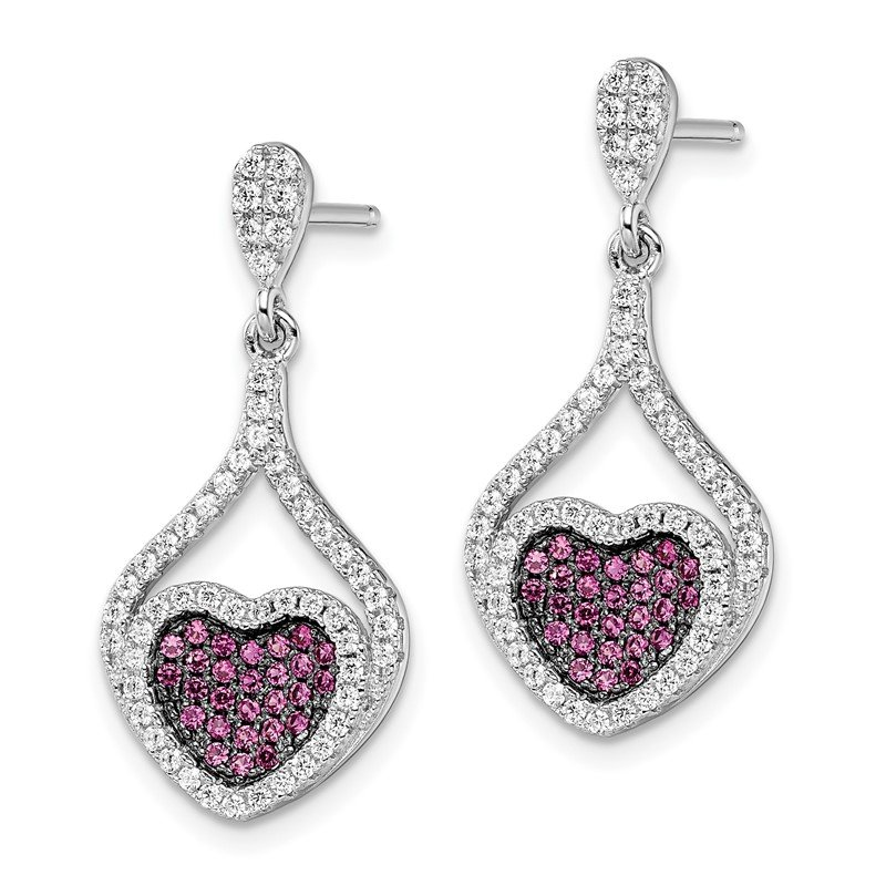 Quality Gold SS Rhodium-Plated CZ Brilliant Embers Heart Dangle Post Earrings