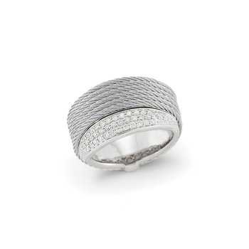 Grey Cable Peekaboo Ring with 18kt White Gold & Diamonds