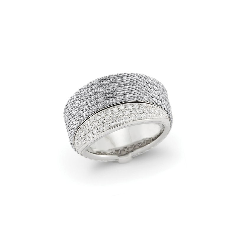 ALOR Grey Cable Peekaboo Ring with 18kt White Gold & Diamonds