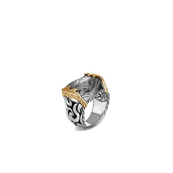 Classic Chain Keris Dagger Ring, Silver, 18K Gold, Damascus