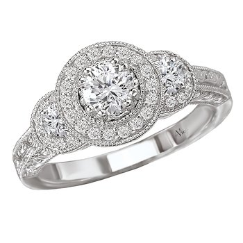 Triple Round Halo Complete Diamond Ring