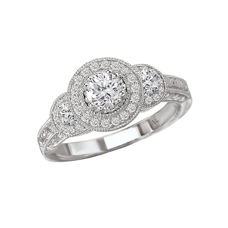 LaVie Triple Round Halo Complete Diamond Ring