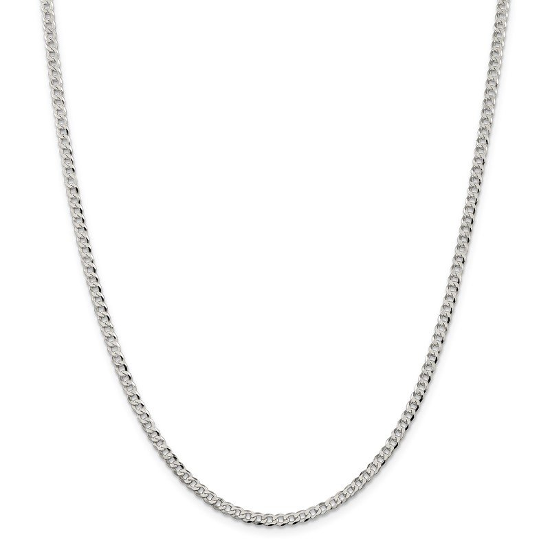 Quality Gold Sterling Silver 3.2mm Beveled Curb Chain