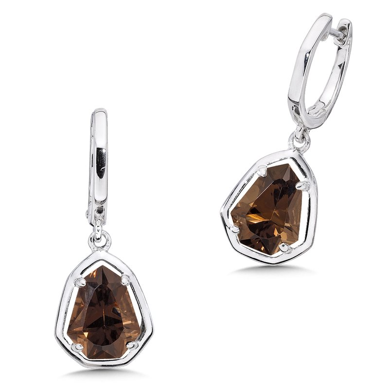 Colore Sg Sterling silver and smoky quartz earrings