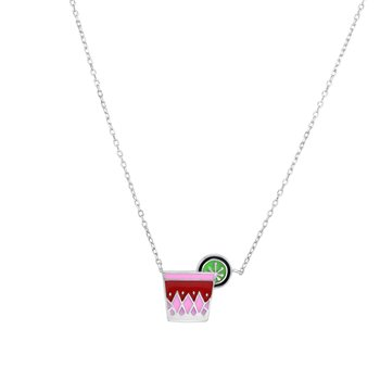 Silver Enamel Tropical Cocktail Necklace
