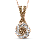 Essentials 10K Rose Gold 3/8 Ct Brown and White Diamond Fashion Pendant with Chain