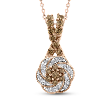 10K Rose Gold 3/8 Ct Brown and White Diamond Fashion Pendant with Chain