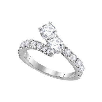 14kt White Gold Womens Round Diamond 2-stone Bridal Wedding Engagement Ring Band Set 2.00 Cttw