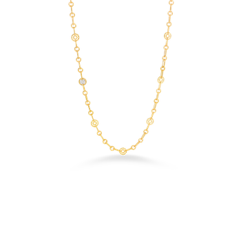 18KT GOLD NECKLACE WITH 10 ROUND STATIONS AND 1  DIAMOND STATION