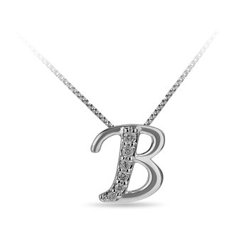 "925 SS and diamond cursive alphabet B ""Chain Sliding "" pendant in prong setting"