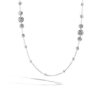 Dot Moon Phase Long Necklace in Hammered Silver
