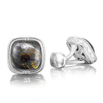 Cushion Cabochon Cuff Links featuring Tiger Iron