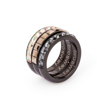 316L stainless steel, black pvd, luminous green, metallic gold and silver night Swarovski® Elements