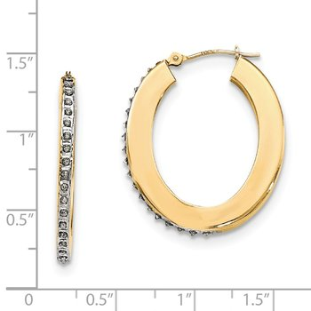 14k Yellow Gold Diamond Fascination Flat Oval Hoop Earrings