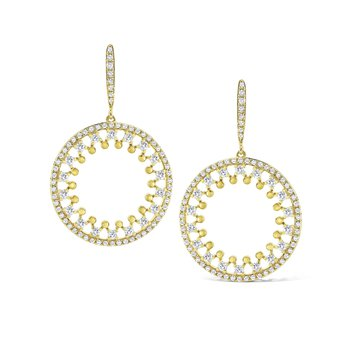 14K Ornate Open Circle Earrings