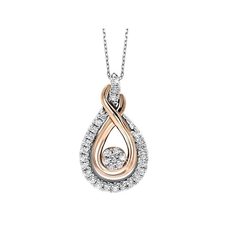 Calvin Broyles Diamond Cluster Love Knot Pendant in 14k Yellow Gold & Sterling Silver (⅙ ctw)