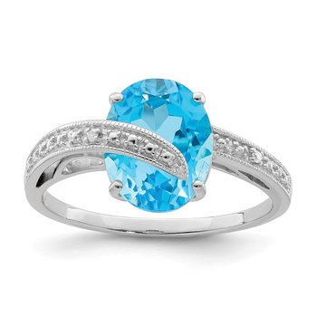 Sterling Silver Rhodium-plated Polished Swiss Blue Topaz Dia Accent Ring