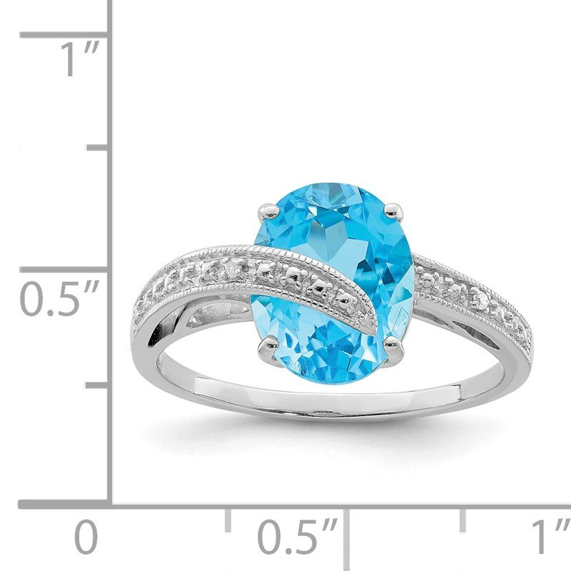 Quality Gold Sterling Silver Rhodium-plated Polished Swiss Blue Topaz Dia Accent Ring