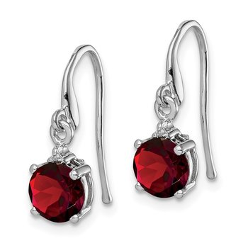 Sterling Silver Rhodium Round Garnet & Diamond Wire Earrings