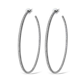 Diamond Inside Outside Hoop Earrings in 14k White Gold with 284 Diamonds weighing 1.43ct tw.