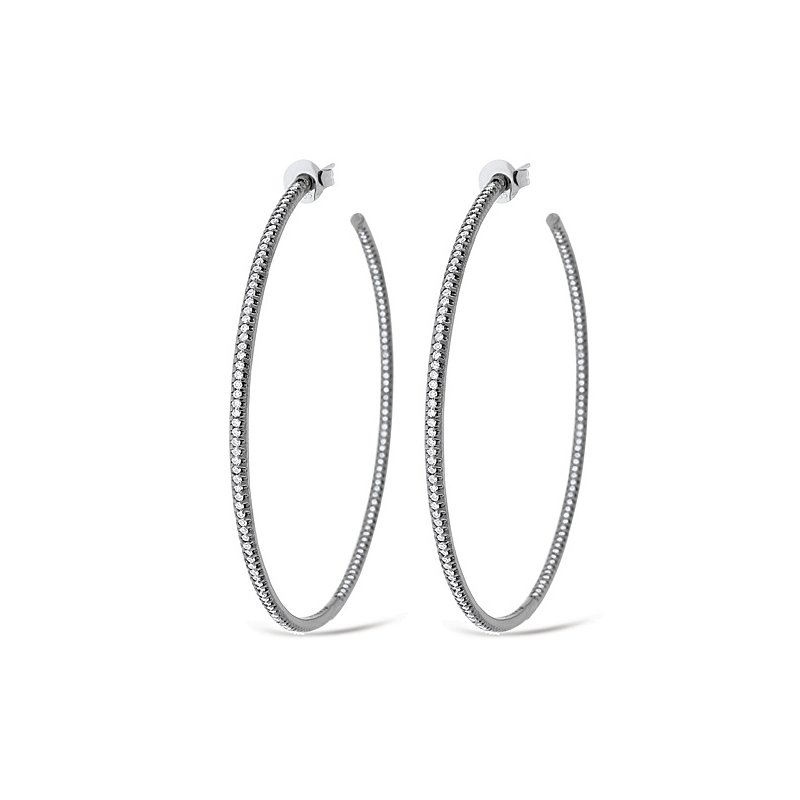 KC Designs Diamond Inside Outside Hoop Earrings in 14k White Gold with 284 Diamonds weighing 1.43ct tw.