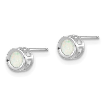 14k White Gold 4mm Oval Bezel October/Opal Post Earrings