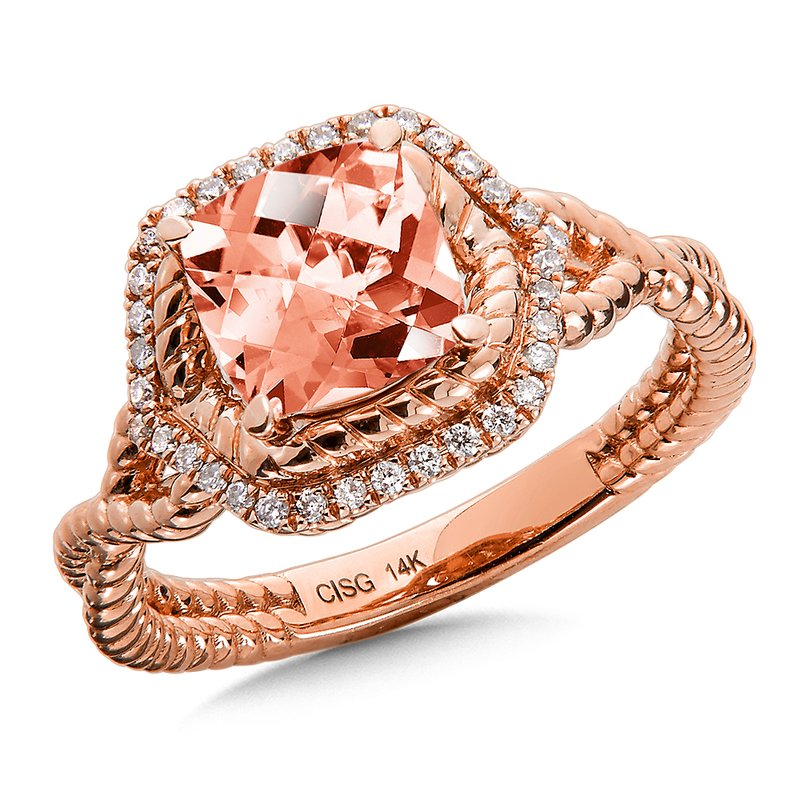 Morganite & Diamond Ring in 14K Rose Gold
