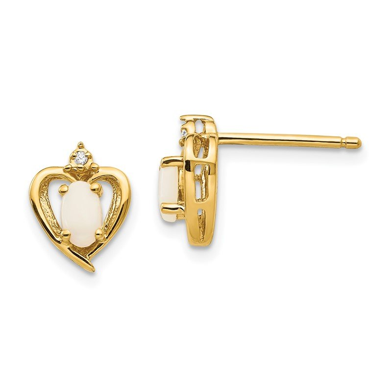 Quality Gold 14k Opal and Diamond Heart Earrings