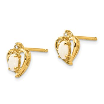14k Opal and Diamond Heart Earrings