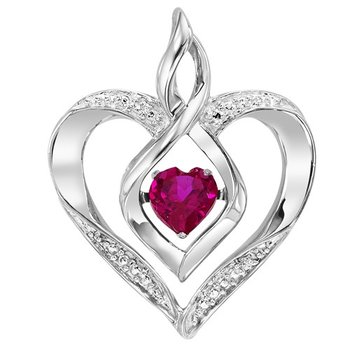 Diamond & Synthetic Ruby Heart Infinity Symbol ROL Rhythm of Love Pendant in Sterling Silver
