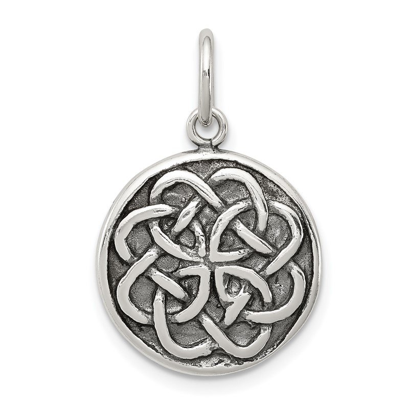 Quality Gold Sterling Silver Antiqued Celtic Knot Charm