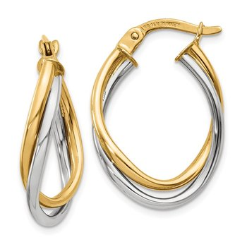 14K Two-Tone Polished Oval Hoop Earrings