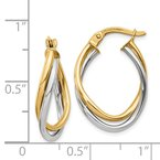 Quality Gold 14K Two-Tone Polished Oval Hoop Earrings