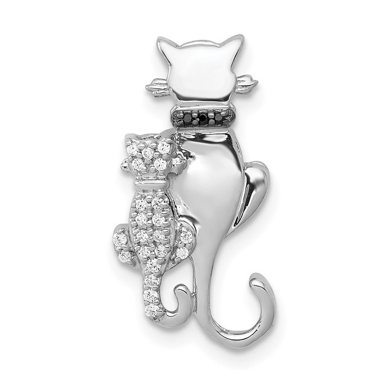 Quality Gold 14k White Gold White and Black Accent Diamond Cats Chain Slide