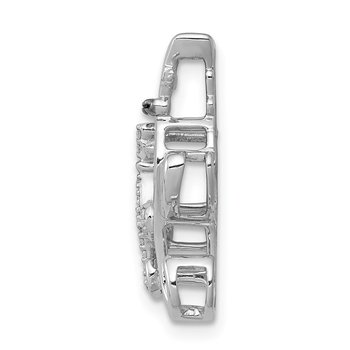 14k White Gold White and Black Accent Diamond Cats Chain Slide