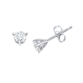 14K White Gold .50 Ct Diamond Martini Setting Stud Earrings