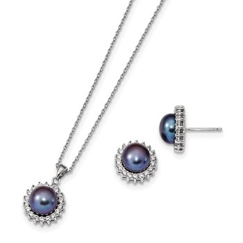 Sterling Silver Rhod-plated 8-9mm Black FWC Pearl CZ Earring/Necklace Set