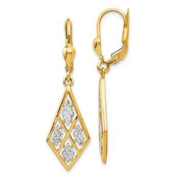 Leslie's 14k with Rhodium Diamond-cut Leverback Earrings