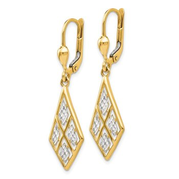 Leslie's 14K with Rhodium D/C Leverback Earrings