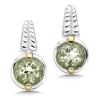 Sterling Silver, 18K Gold and Green Amethyst Earrings
